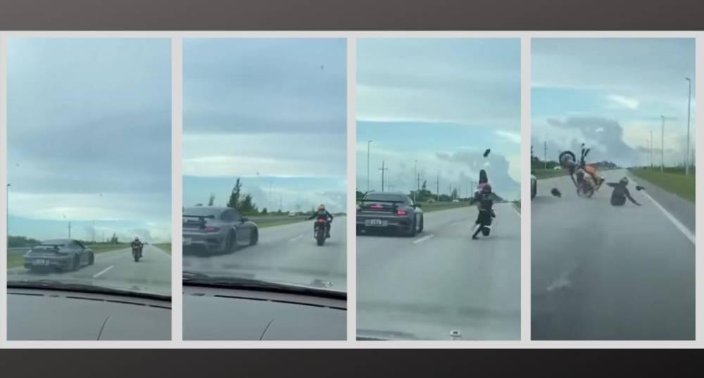 vídeo Porsche contra moto